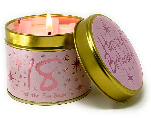 Happy Birthday 18th Scented Candle Tin
