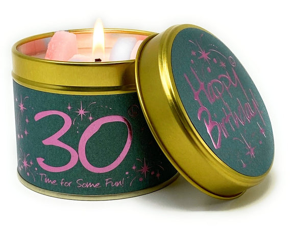 Happy Birthday 30th Scented Candle Tin