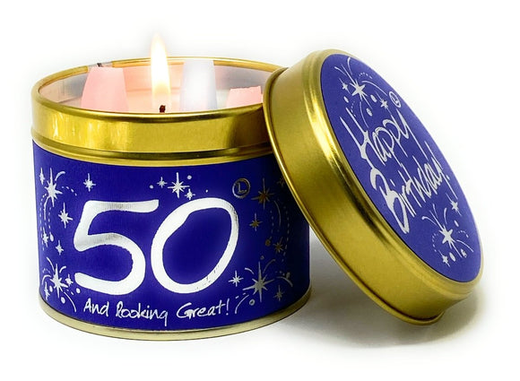 Happy Birthday 50th Scented Candle Tin