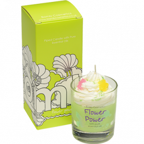 Flower Power piped Glass Candle