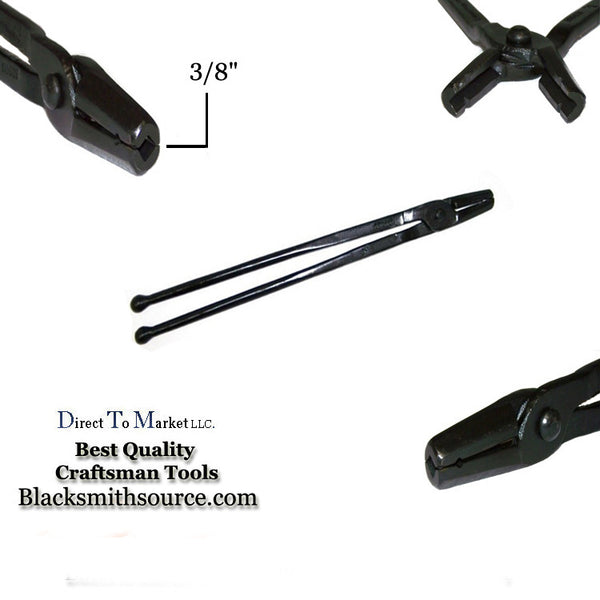 "Blacksmith 3/8"" straight v bit jaw Forge Tongs with ball end reins - Blacksmith Source Tool Company"