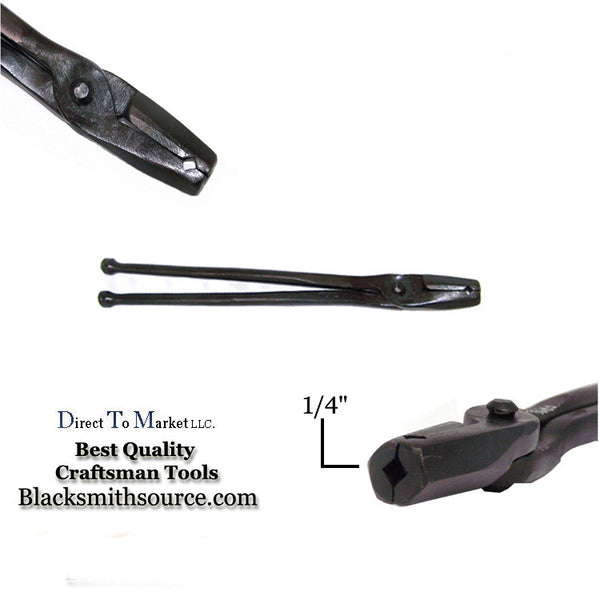 "Hollow Tip 1/4"" Straight V-Bit Forge Tongs - Blacksmith Source Tool Company"