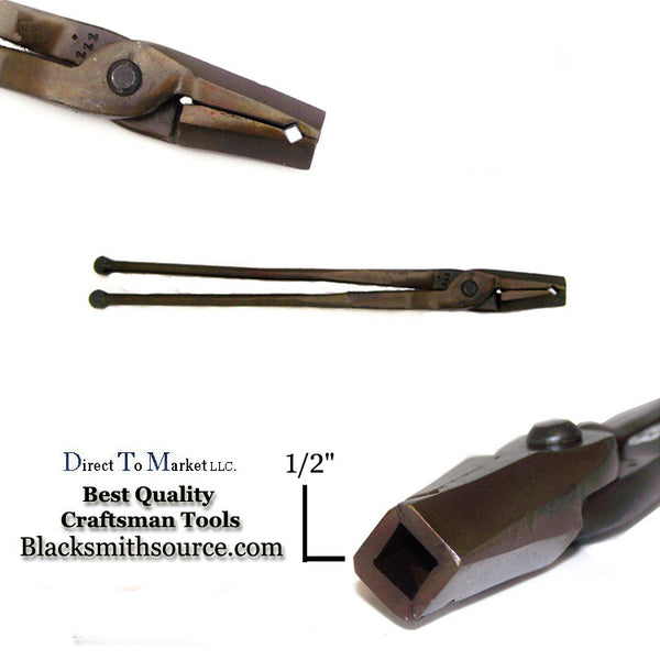 "Blacksmith 1/2"" straight v bit jaw Forge Tongs with ball end reins"