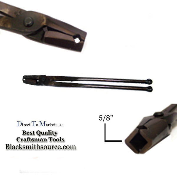 "Blacksmith 5/8"" straight v bit jaw Forge Tongs with ball end reins - Blacksmith Source Tool Company"