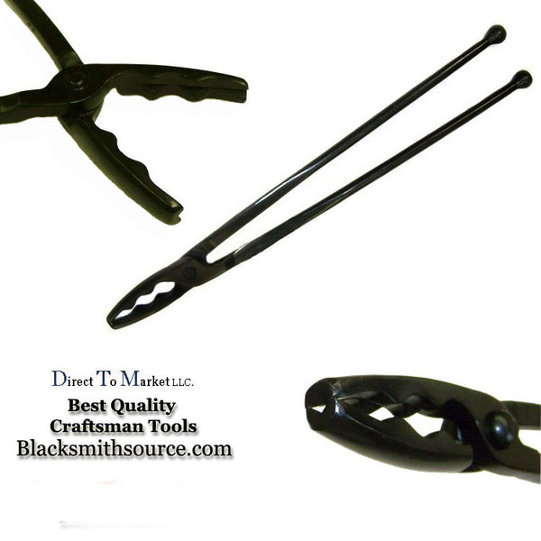 "Blacksmith Large Wolf Jaw Forge Tongs  3.5"" jaws with ball end reins - Blacksmith Source Tool Company"