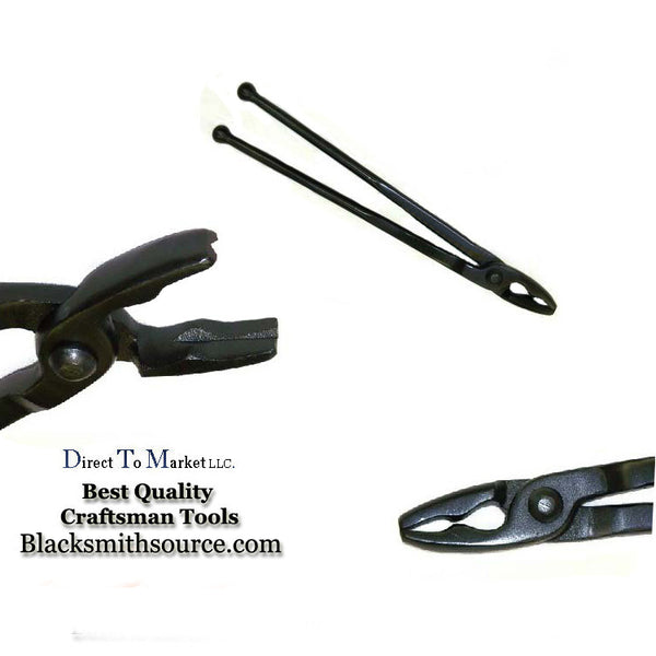 "Blacksmith Wolf Jaw Forge Tongs  2.5"" jaws with ball end reins - Blacksmith Source Tool Company"