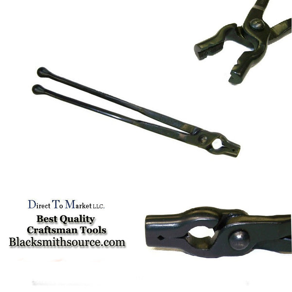 "Forge tongs 3/8"" V-bit Blacksmith Tongs with 12""reins and ball ends - Blacksmith Source Tool Company"