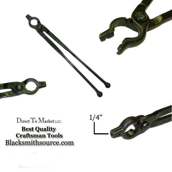 "Blacksmith Forge tongs 1/4"" V-bit Bolt tongs with 12"" reins and ball ends - Blacksmith Source Tool Company"