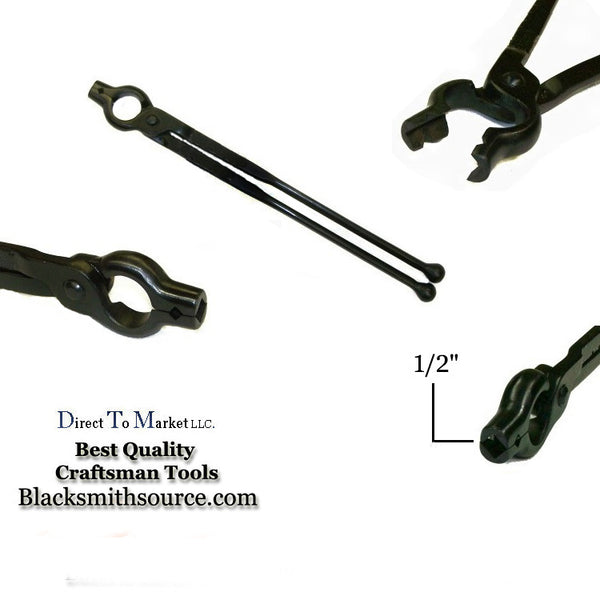 "Blacksmith Forge tongs 1/2"" V-bit Bolt tongs with 12"" reins and ball ends - Blacksmith Source Tool Company"
