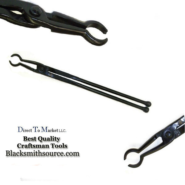 Blacksmithing Forge Tongs Single Round Pick up with ball end reins - Blacksmith Source Tool Company