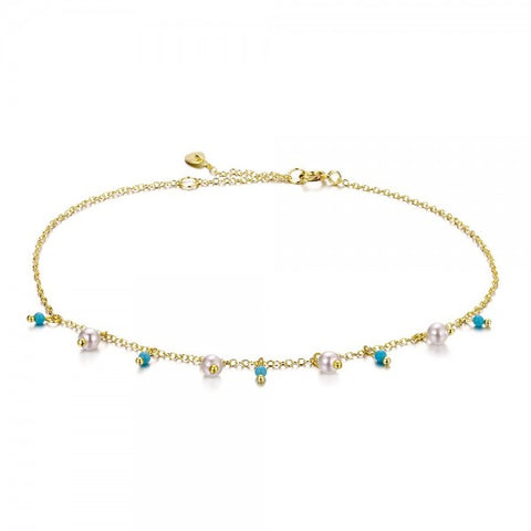 Pearls and Turquoise Anklet