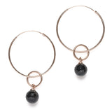 Hoop earrings with stone charm