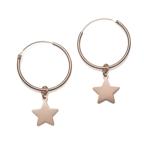 Rosegold Hoop Earrings with charms