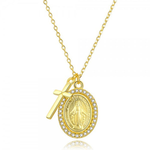 Madonnina & Cross Necklace