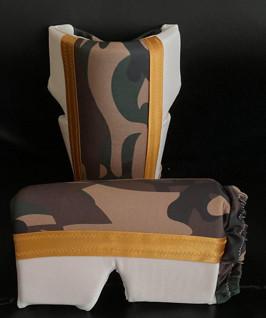 White And Camouflage Knee Pads with Gold Trim