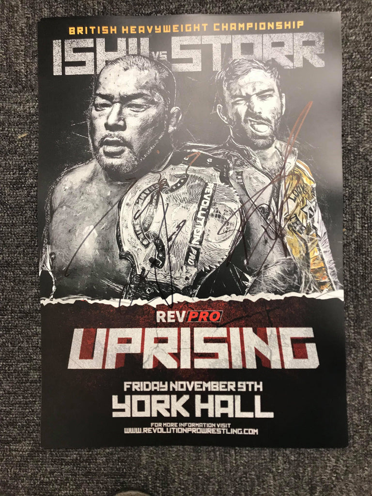 Signed Uprising 2018 poster of David Starr & Tomohiro Ishii