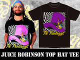 NJPW 2x IWGP United States Champion Juice Robinson with his brand New Flamboyant Top Hat T-shirt.