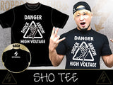"Show your support for Roppongi 3k member Sho by picking up the brand new t-shirt dedicated exactly for him. Including his nickname ""High Voltage"" and his finisher name ""Shock Arrow"", here is the first tee from the New Japan Dojo Graduate"
