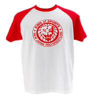 Show your support for New Japan Pro Wrestling with their classic Red Baseball style T-shirt.