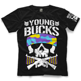 Show your support for former 7x IWGP Tag Team Champions, members of The Elite, The Young Bucks with this Official New Japan Pro Wrestling T-shirt.  Styled after the classic Bullet Club T-shirt this has been customised by the Bucks with their trademark tassels and multi coloured camouflage whilst still featuing the classic 'Bone Solider' Bullet Club logo on the sleeve.