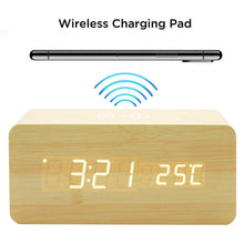 Wooden alarm clock with Wireless chargching pad and temperature display