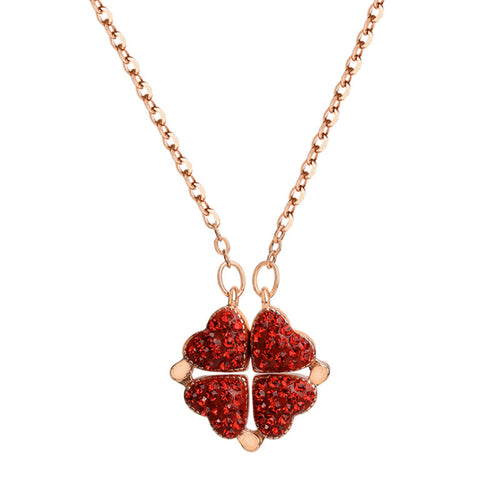 Deformable Four Leaf Clover Heart Lock Necklace