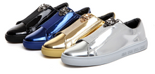 Bling Glossy PU leather - Casual Shoes leather Sneakers for Male