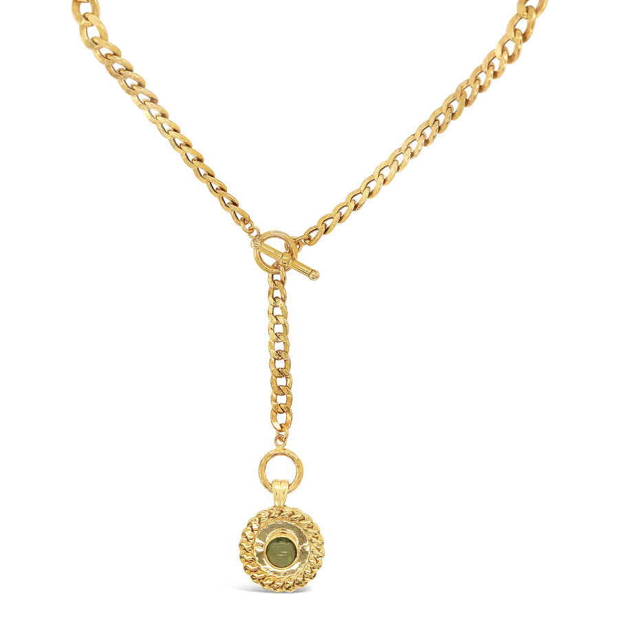 Wheat Sheaf Coin Lariat Curb Chain Necklace