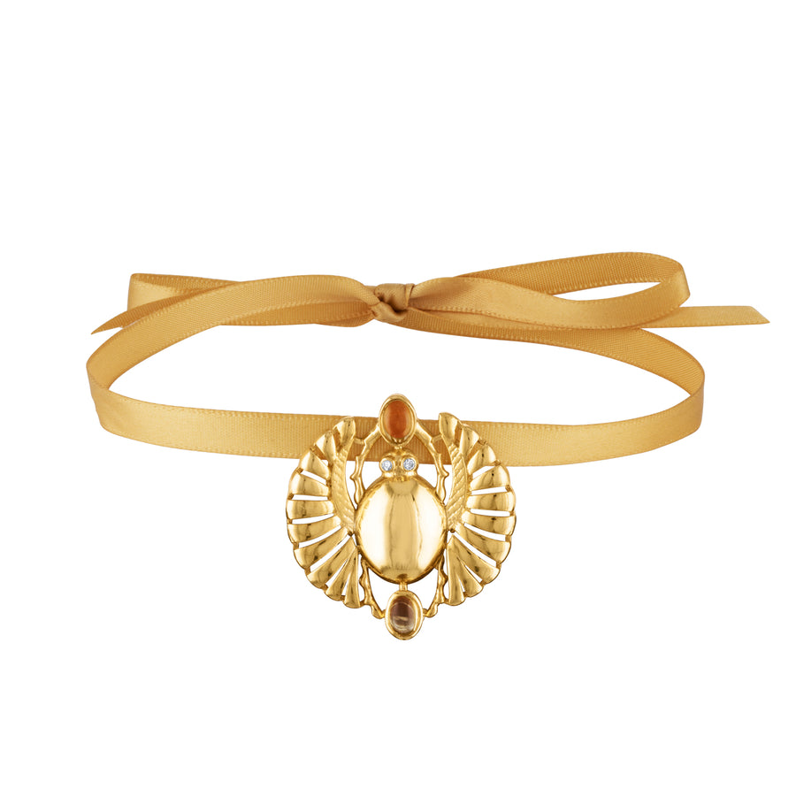 Nefertiti Winged Scarab Pendant Choker Necklace