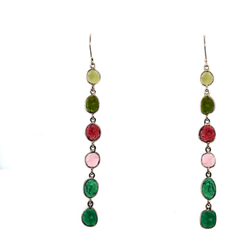 Watermelon Tourmaline Shoulder Duster Earrings