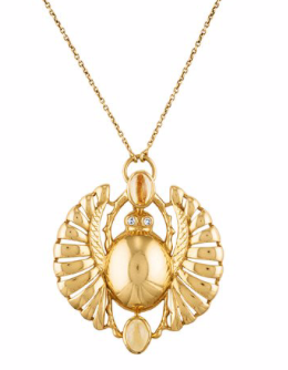 Cleopatra Open Winged Scarab Pendant Necklace