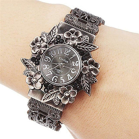Fashion Women Bangle Watch - Vintage Flower Style - Black - Womens Watch