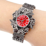 Fashion Women Bangle Watch - Vintage Flower Style - Red - Womens Watch