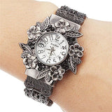 Fashion Women Bangle Watch - Vintage Flower Style - White - Womens Watch