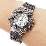 Fashion Women Bangle Watch - Vintage Flower Style - Womens Watch