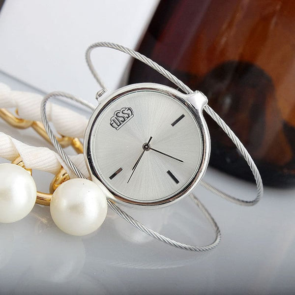 Ladies Fashion Bracelet Watch - Round Wire Style - Womens Watch