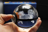 Realistic Crystal Pokeball Large Size (80 Mm Diameter ) - Part 1 - Ball Only / Arcanine - Pokemon Merchandise