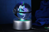 Realistic Crystal Pokeball Large Size (80 Mm Diameter ) - Part 1 - Fixed Base / Gyarados - Pokemon Merchandise