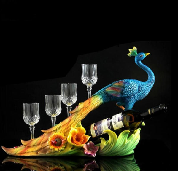 Wine Glass & Bottle Holder - Peacock Statue Design - Wine Gadget