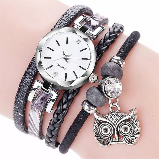 Women Fashion Watches - Bracelet With Owl Pendant - Black - Womens Watch