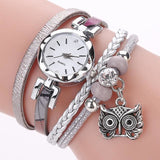 Women Fashion Watches - Bracelet With Owl Pendant - Gray - Womens Watch