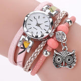 Women Fashion Watches - Bracelet With Owl Pendant - Pink - Womens Watch