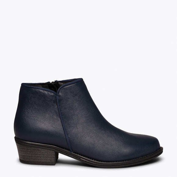 BASIC - Bottine en cuir BLEU MARINE à talon bas