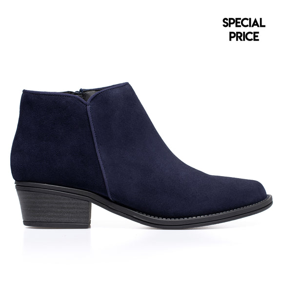 BASIC - Bottines en cuir petit talon BLEU MARINE