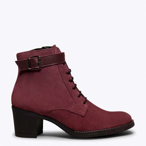 TOP - Bottines à lacets BORDEAUX à talon