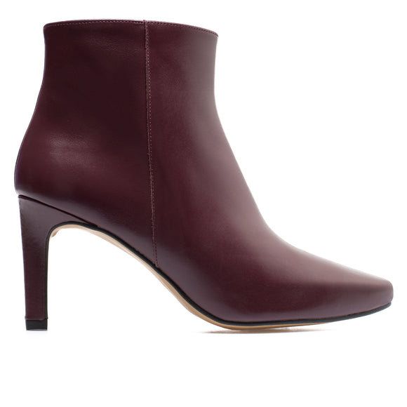 STILETTO - bottines kitten heel cuir BORDEAUX