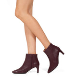 OUTFIT - bottines kitten heel cuir BORDEAUX