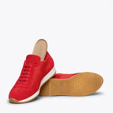 CASUAL - Sneakers cuir ROUGE et nylon