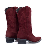 DALLAS - Bottes style cow-boy BORDEAUX nubuck