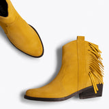 BOHO- Bottines MOUTARDE style cowboy avec franges